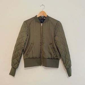 H&M Olive Green Quilted Padded Bomber Jacket